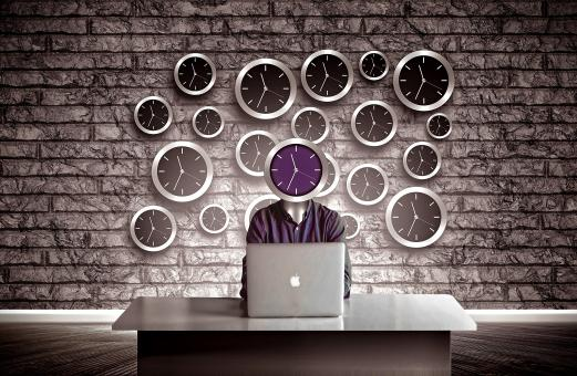 Free Stock Photo of Man with clock head - Slave to time concept