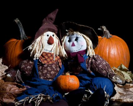 Free Stock Photo of Pumpkins and Dolls