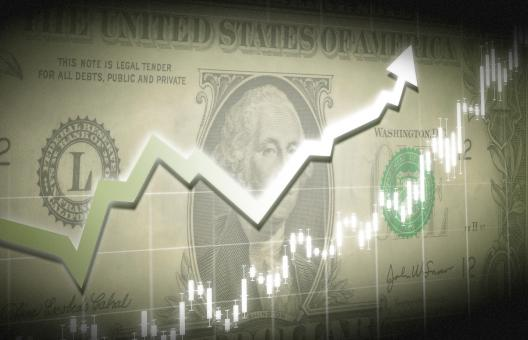 Free Stock Photo of Dollar bill with financial graph superimposed