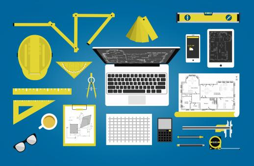 Free Stock Photo of Engineer or architect desk - Technical profession concept