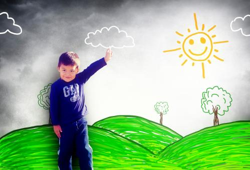 Free Stock Photo of Happy child drawing a sunny landscape