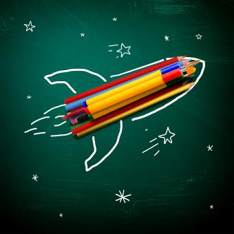Free Stock Photo of School stationery on a rocket - School and learning concept