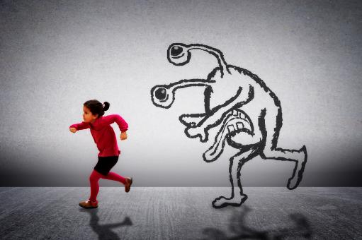 Free Stock Photo of Little cute child running away from a monster