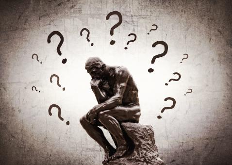 Free Stock Photo of Rodins Thinker surrounded by question marks