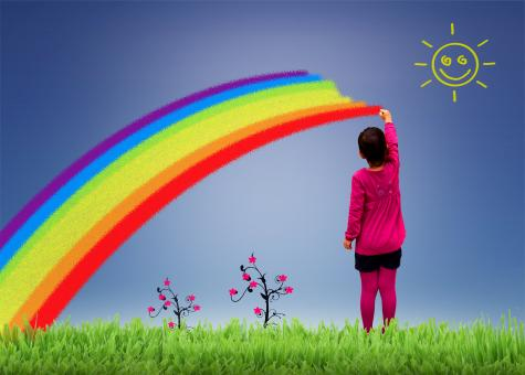 Free Stock Photo of Little girl painting a rainbow on the sky