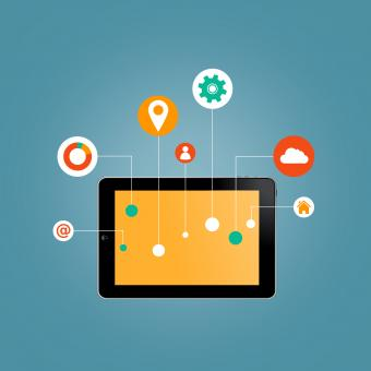 Free Stock Photo of Internet of Things concept - Tablet with Information Technology icons