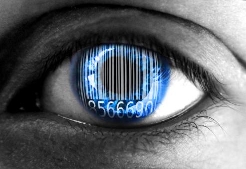Free Stock Photo of Human eye with barcode - Big data concept
