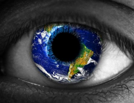 Free Stock Photo of Human eye with planet Earth