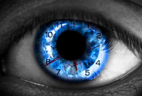 Free Stock Photo of Human eye with clock - Time concept