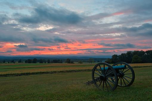 Free Stock Photo of Gettysburg Cannon Sunset - HDR