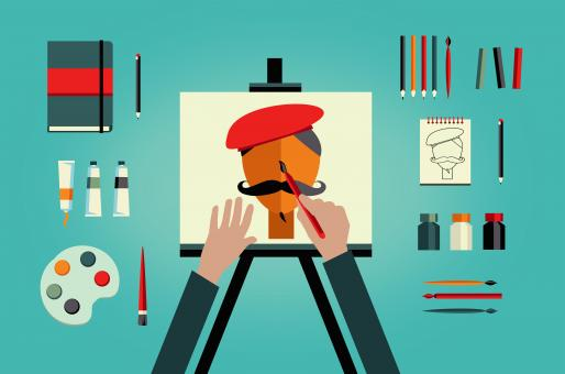 Free Stock Photo of Artist painter painting self-portrait - art and creativity concept