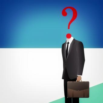 Free Stock Photo of Headless businessman with question mark