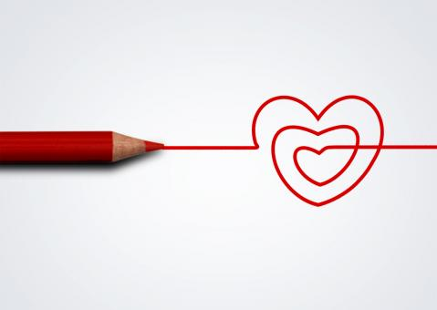 Free Stock Photo of Red pencil drawing heart - Love and care concept