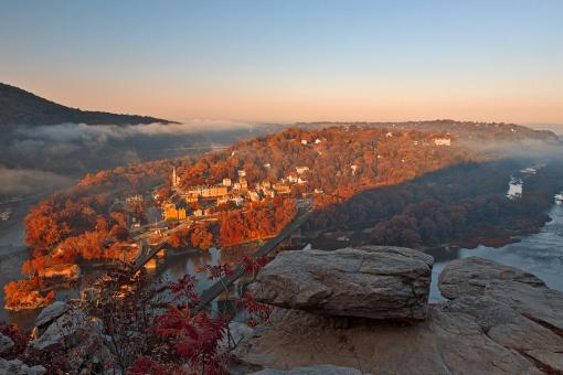Free Stock Photo of Harpers Ferry Overlook - Autumn Warm HDR
