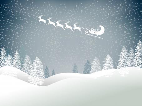 Free Stock Photo of Snowy Christmas landscape with Santas sled and reindeer