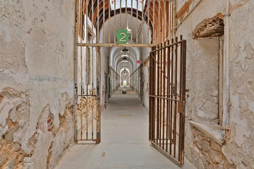 Free Stock Photo of Gated Prison Corridor - HDR