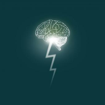 Free Stock Photo of Brainstorming - Brain unleashes a lightning bolt