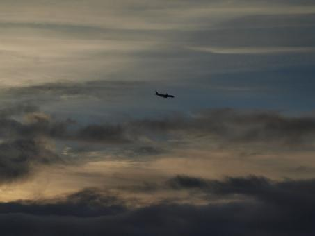 Free Stock Photo of Airplane in clouds