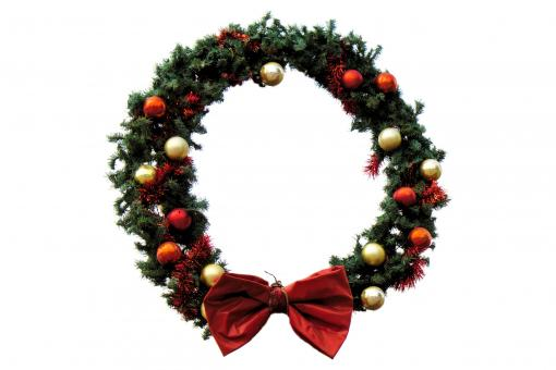 Free Stock Photo of Christmas wreath on white background