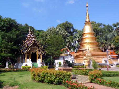 Free Stock Photo of Thai Buddhist temple gardens and pagoda