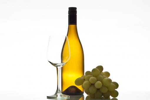 Free Stock Photo of Wine with glass bottle and grapes