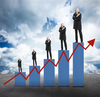 Free Stock Photo of Capital Appreciation - Businessmen on Bar Chart with Arrow