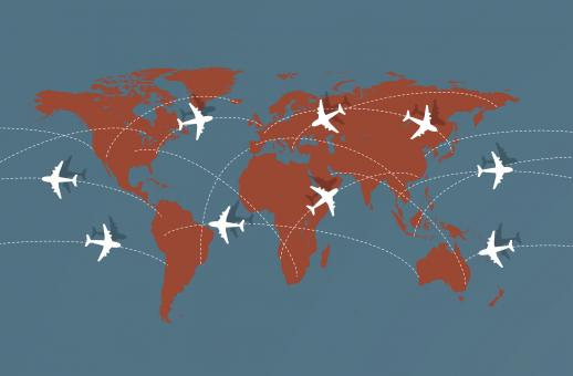 Free Stock Photo of Flying Across The Globe - Air Travel Illustration