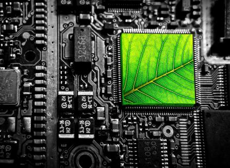 Free Stock Photo of Electronic Circuit with Green Leaf - Green Technology