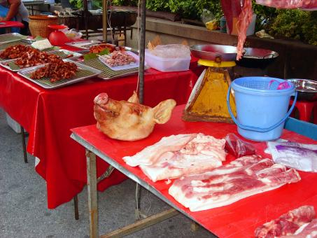 Free Stock Photo of Thai meat stall