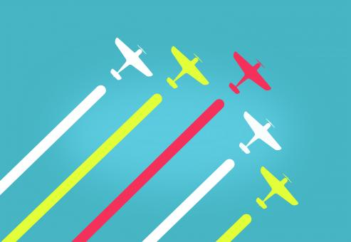 Free Stock Photo of Colorful Aeroplanes in Formation