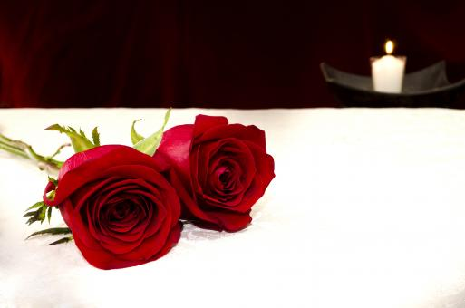 Free Stock Photo of Two red roses and a candle on the background