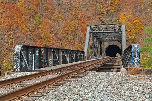 Free Stock Photo of Autumn Graffiti Train Track - HDR