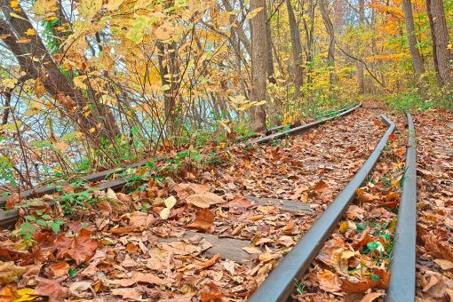 Free Stock Photo of Abandoned Autumn Railroad - HDR