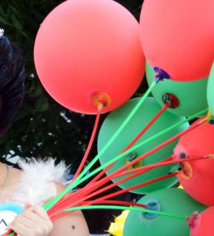 Free Stock Photo of Girl with Balloons