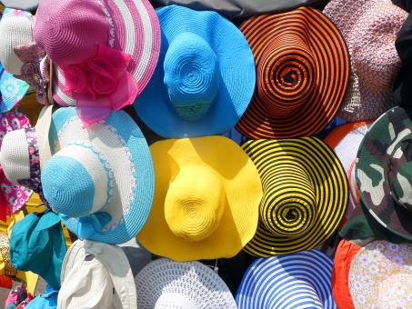 Free Stock Photo of Colorful hat display