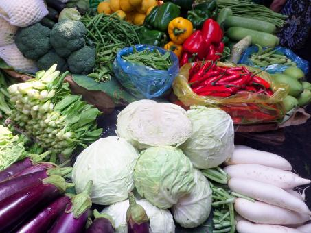 Free Stock Photo of Assorted vegetables at Cambodian  market