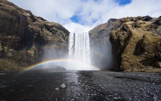 Free Stock Photo of The Rainbow Below the Waterfall