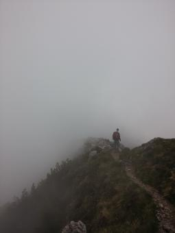 Free Stock Photo of Hiker in the Fog