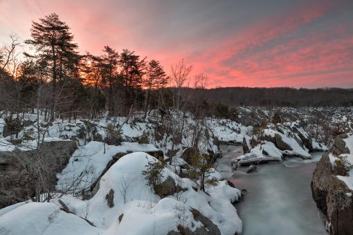 Free Stock Photo of Great Falls Winter Twilight - HDR