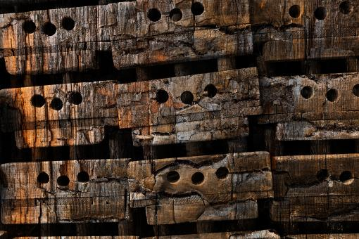 Free Stock Photo of Charred Wood Boxes