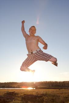 Free Stock Photo of Young jumping man