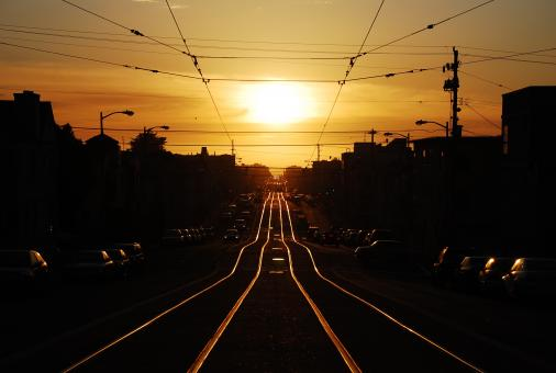 Free Stock Photo of Tracks into the Sunset