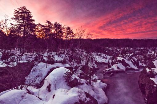 Free Stock Photo of Great Falls Winter Twilight - Violet Velvet Fantasy