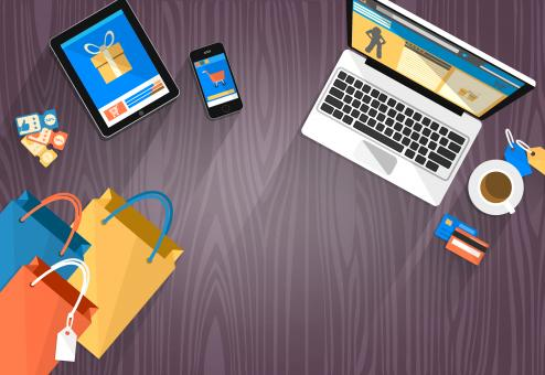 Free Stock Photo of Online Shopping - Devices and Bags with Copyspace