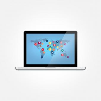 Free Stock Photo of Laptop with World Map and Technology Icons
