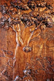 Free Stock Photo of Antique Carved Wood Door - Hunting Scene