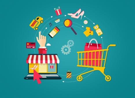 Free Stock Photo of Online Shopping - Laptop to Shopping Cart