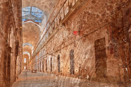 Free Stock Photo of Battered Prison Corridor