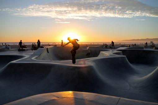 Free Stock Photo of Skateboarding at Sunset