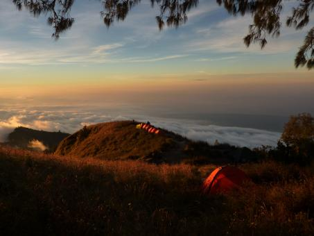 Free Stock Photo of Camping on the top